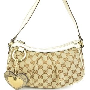 """GUCCI: Beige, Leather & """"GG"""" Logo Shoulder Bag nr"""